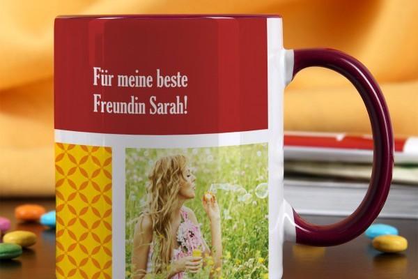 Foto-Tasse mit Ihren 3 Bildern und Wunschtext