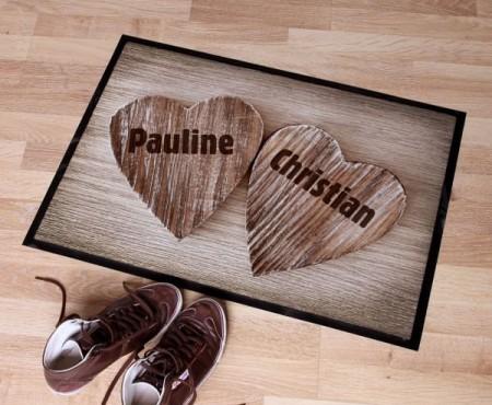 Fußmatte mit Herzen und Namen