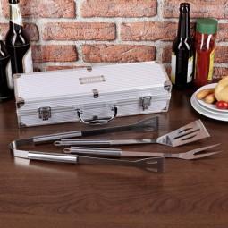 Grillset mit graviertem Koffer
