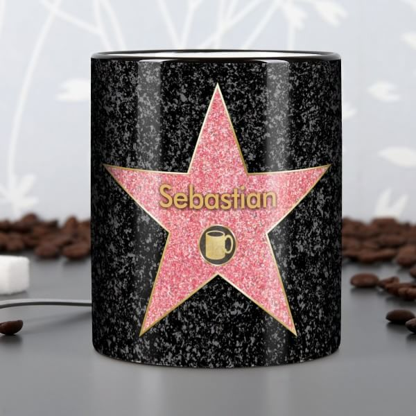 Kaffe-Tasse mit Walk of Fame und Wunschname