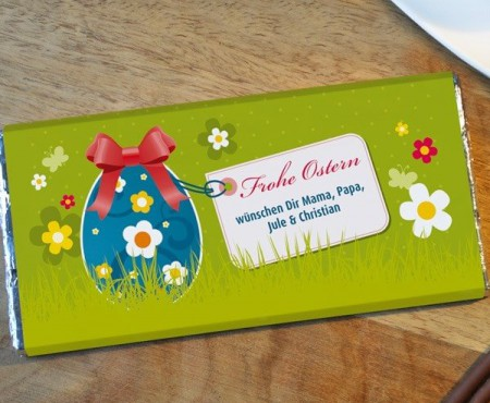 Osterschokolade mit persönlichem Gruß