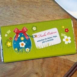 Osterschokolade mit Gruß
