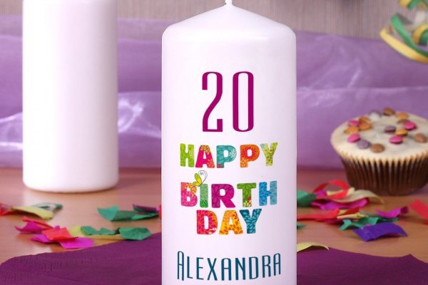 Happy Birthday Kerze mit Name und Alter