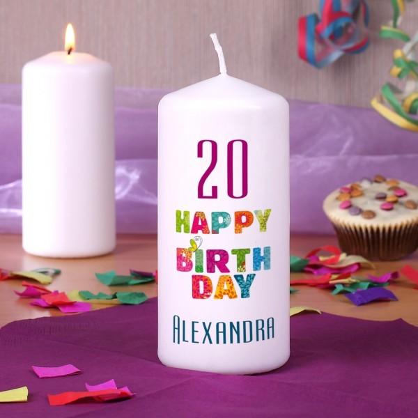 happy birthday kerze mit name und alter. Black Bedroom Furniture Sets. Home Design Ideas
